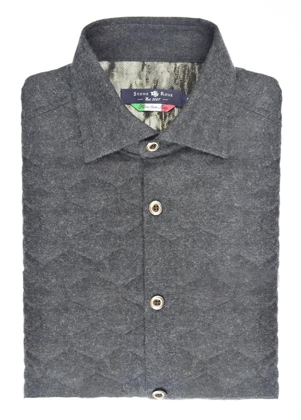Stone Rose Charcoal Quilted Herringbone Long Sleeve Shirt