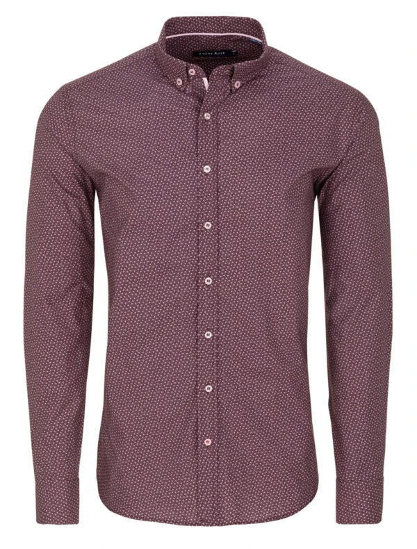 Stone Rose Berry Ditsy Print Long Sleeve Shirt