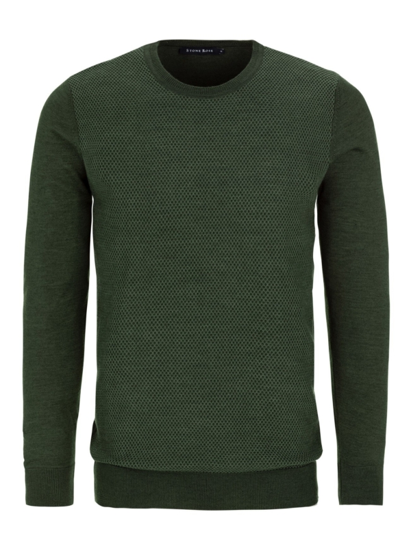 Stone Rose Olive Honeycomb Sweater
