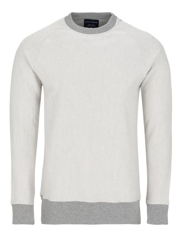Stone Rose Light Gray Herringbone Sweater