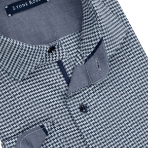 Stone Rose Blue Dry Touch Hounds tooth Long Sleeve Shirt