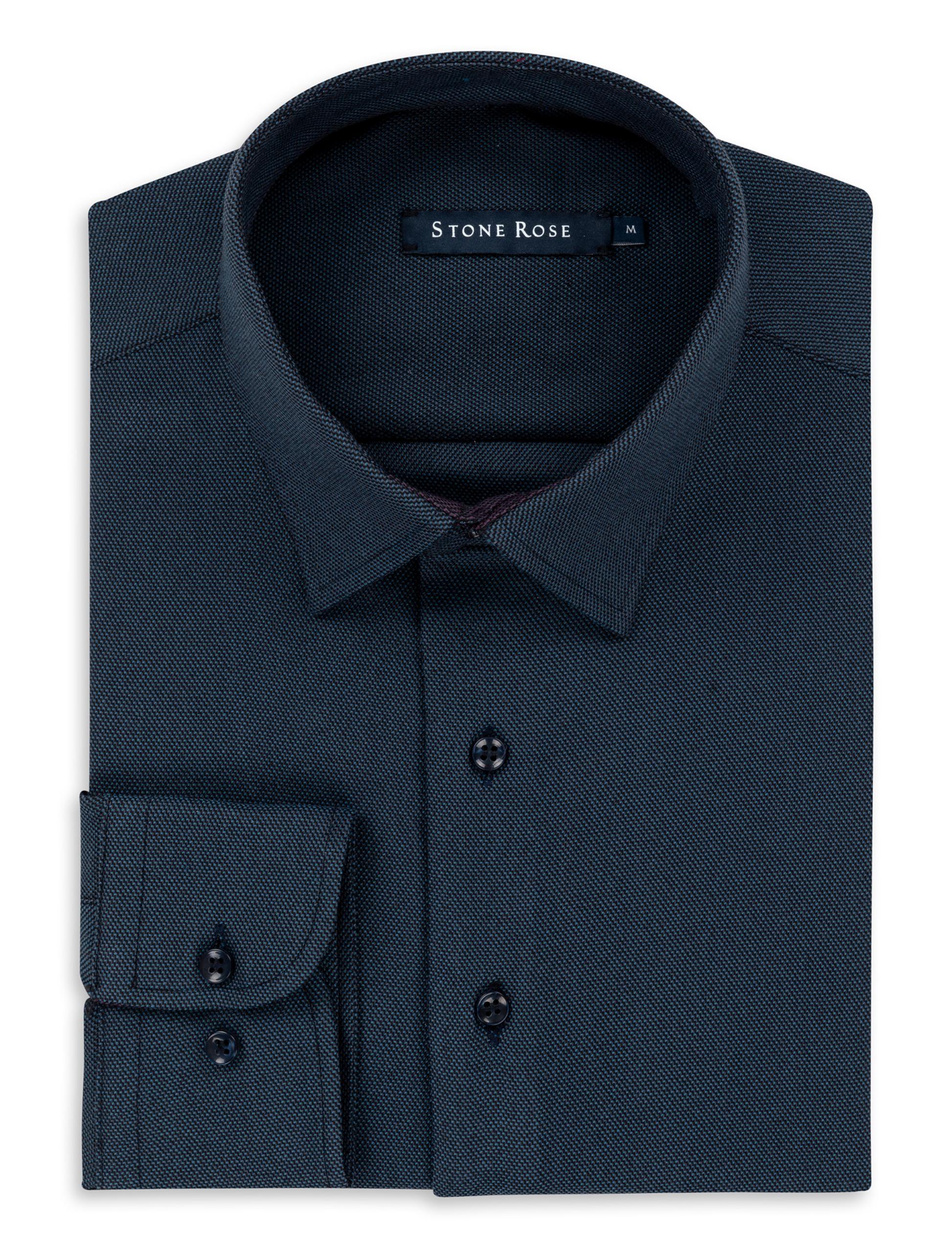 Stone Rose Blue Dry Touch Jacquard Long Sleeve Shirt