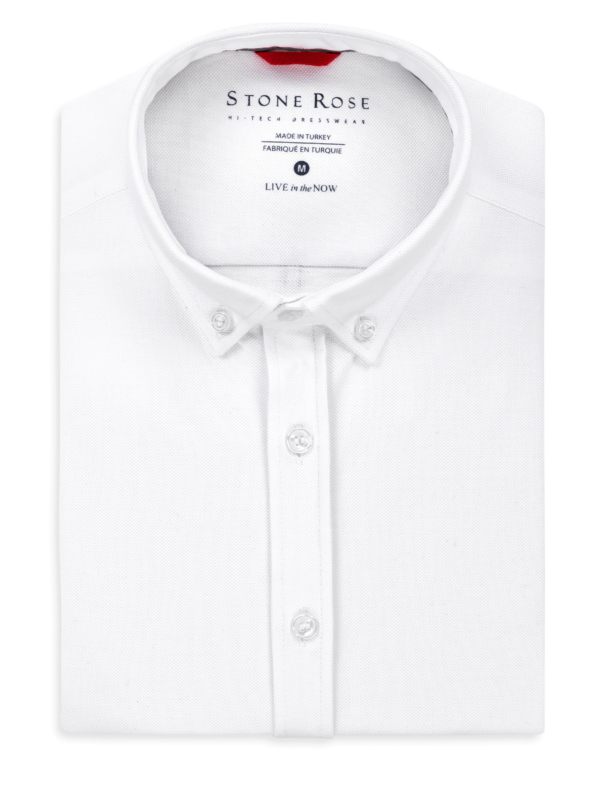Stone Rose White Performance Pique Solid Knit Long Sleeve Shirt