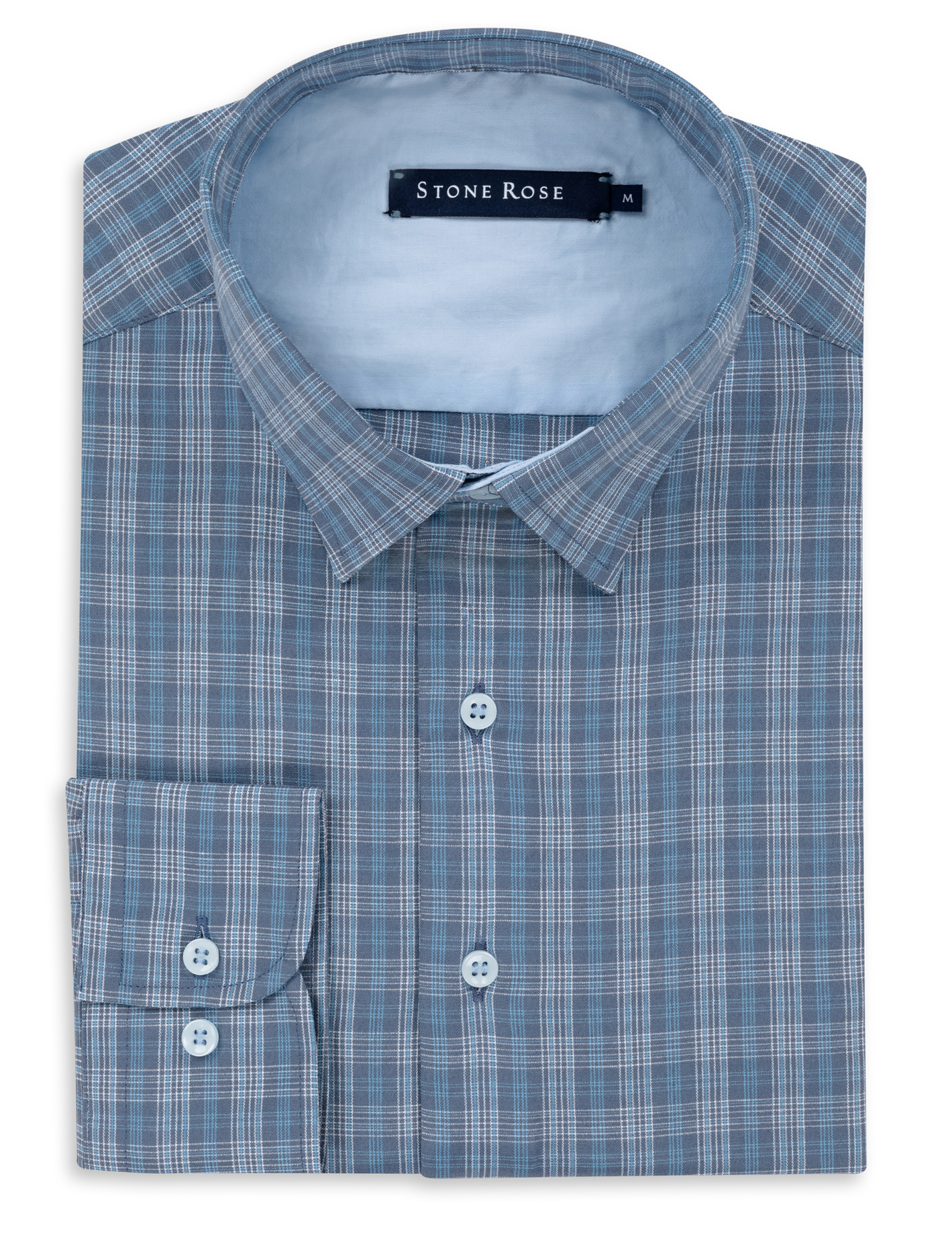 Stone Rose Blue Dry Touch Plaid Long Sleeve Shirt