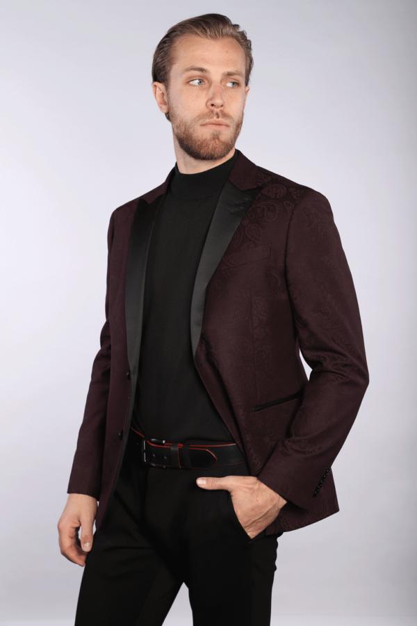 7 Downie St Joel - Burgundy Paisley Tuxedo Jacket
